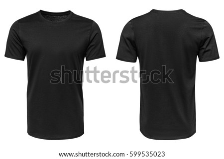 Black t-shirt, clothes on isolated white background. - Shutterstock ID 599535023