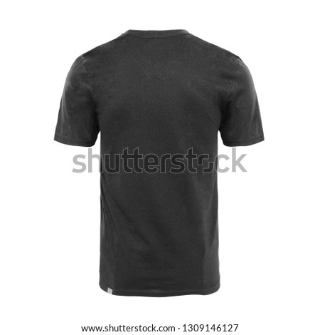 d0eb4a000 Black T Shirt Isolated on White Background. Back View of Men's Short Sleeves  Blank Tshirt