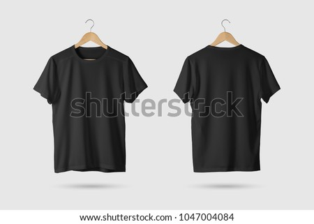 Black T-Shirt Mock-up on wooden hanger, front and rear side view. 3D Rendering.