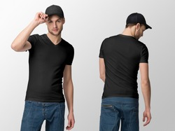 Black t-shirt on a young man in jeans and baseball cap, isolated, front and back, mockup.