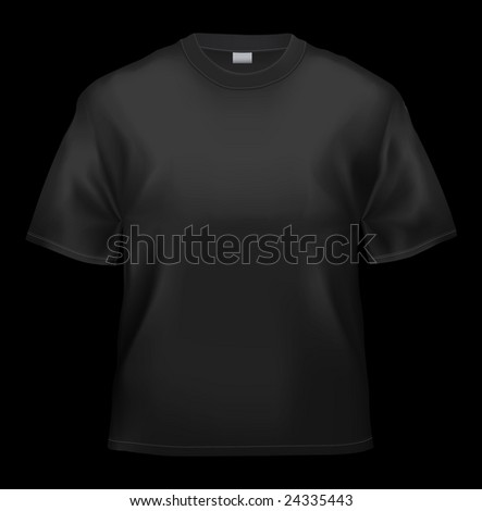 Black T-shirt unisex template (isolated on black, clipping path)