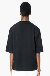 Black t-shirt with design space men's casual apparel rear view