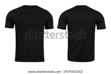Black T-shirts front and back use for design isolated on white background.