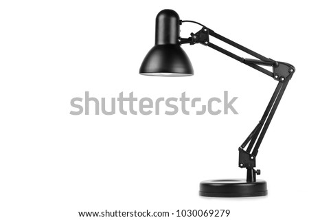 Black table lamp isolated on white background