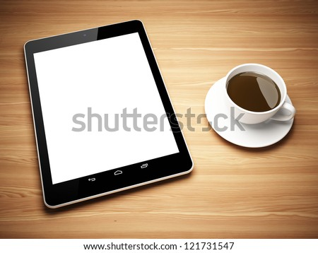 Black tablet computer and cup of tea on wooden table