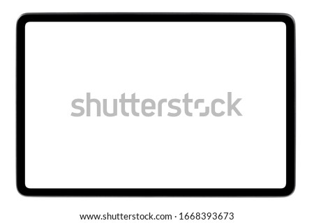 Black tablet computer, isolated on white background