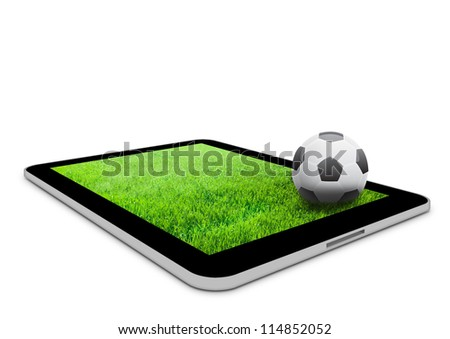 Black tablet computer with field and soccer ball on it. Football concept background