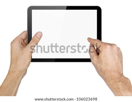 Black tablet in hands on white background.