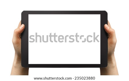 Black tablet in woman's hands isolated on white in horizontal mode, ipade style.