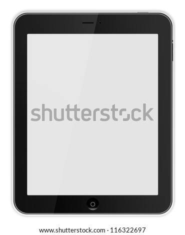 Black tablet  Ipade - like on white background - stock photo