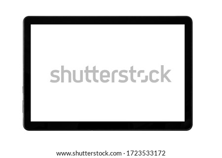 Black tablet isolated on a white background. Screen with blank with copy space for a text.