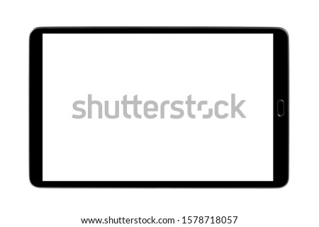 Black tablet, isolated on white background