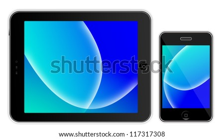 Black tablet on white background