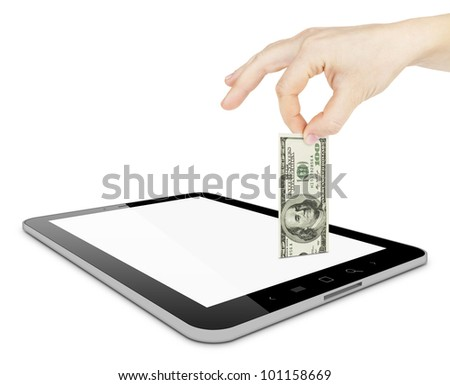 Black tablet pc and hand with dollar on white background