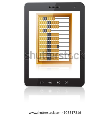 Black tablet PC computer  with abacus isolated on white background.   illustration.