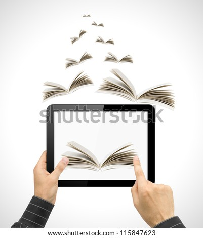 Black tablet pc in hands and book on white background. Portable computer education concept