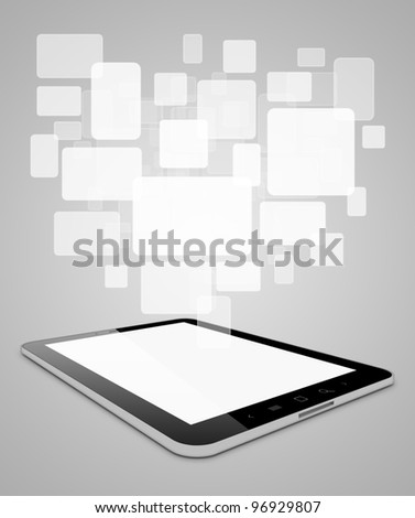 Black tablet pc on grey background, 3d render. Abstract cards