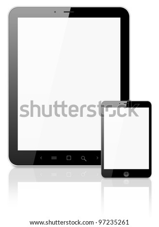 Black tablet pc on white background, 3d render.
