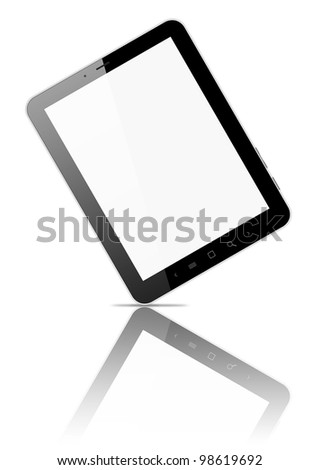 Black tablet pc, on white background, 3d render.