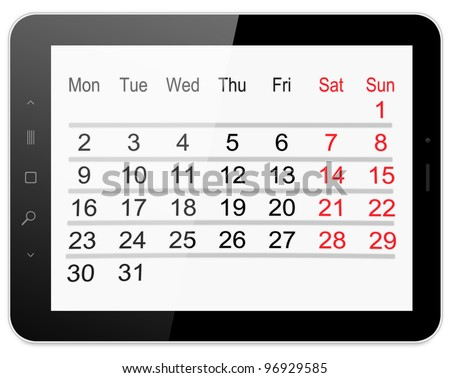Black tablet pc on white background, 3d render. WIth calendar.