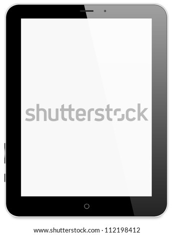 Black tablet pc on white background,  Ipade - like generic portable notebook - stock photo