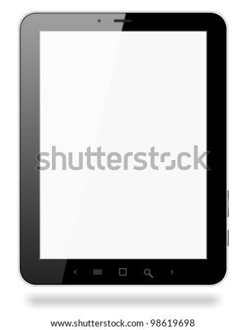 Black tablet pc similar to ipade on white background.