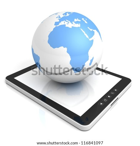 black tablet PC with blue globe sphere