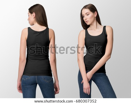 Black tank top on a young woman in jeans, isolated, front and back, mockup.