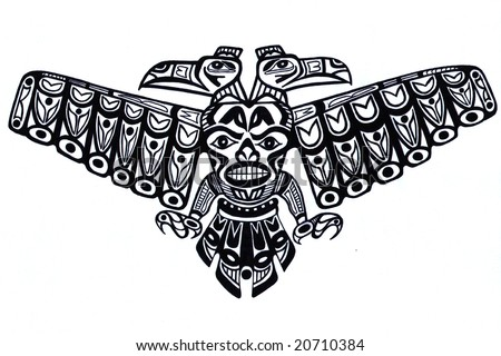 stock photo : Black tattoo pattern of old indian totem
