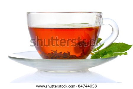 black tea  and mint in cup isolated on white