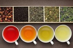 Black tea, green tea, fruit tea cups / tea assortment in boxes