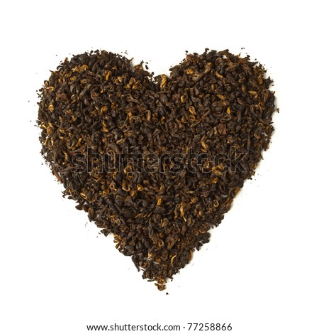 black tea heart shape isolated on white
