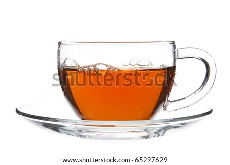 Black Tea in Glass Cup Isolated on White
