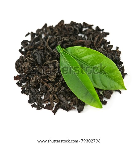 black tea with leaf isolated on white background