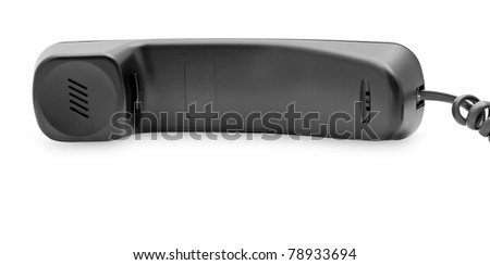 Black telephone tube on a white background.