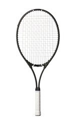 Black tennis racket isolated on white background