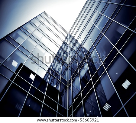 black texture of glass tower at night