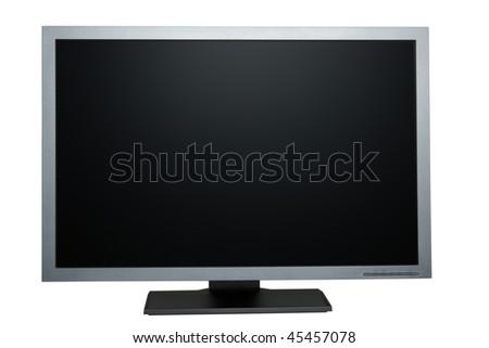 black tft flat monitor isolated on white
