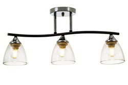 Black three-lamp ceiling lamp with chrome base and bell-shaped transparent glass shades. Isolated on white background