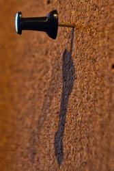 Black thumb tack pin in brown cork board.