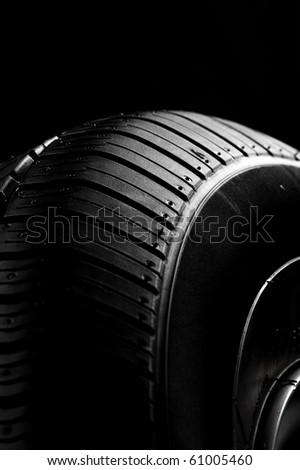 Black tire in a dark