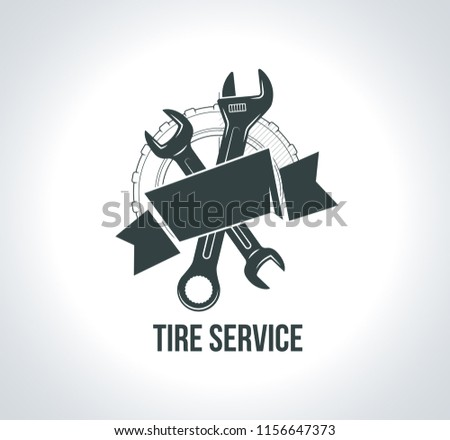 Black tire service logo icon. Icon for tire service with tire drawing, wrench, scheme sketch wheel, badges for tire service or car repair. illustration for emblems emblems, labels, logotype.