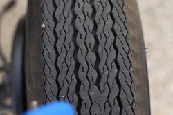 Black tires with threads of old car