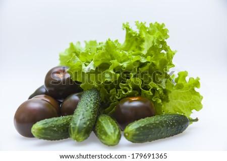 Black tomato varieties Kumata , cucumbers and lettuce