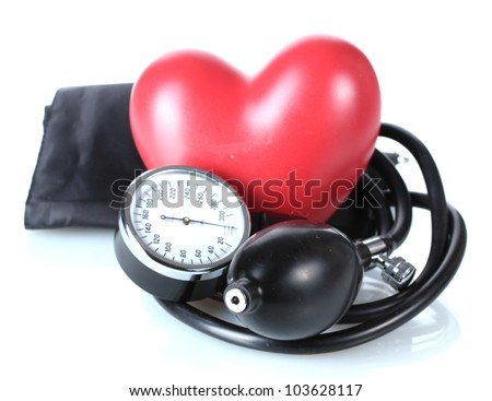 Black tonometer and heart isolated on white