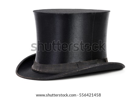 black top hat isolated on white ...