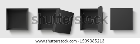 Black top view box. Dark package square boxes with open cap, empty cube packages mockup. 3d realistic presents wrapping box. Isolated symbols template  illustration set
