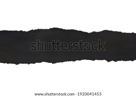 Black torn paper isolated on white background close-up. View from above. Detail for design. Design elements. Macro. Stock foto ©