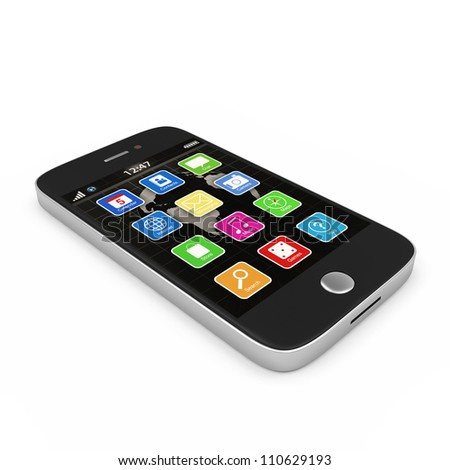 Black Touchscreen Smartphone isolated on white background