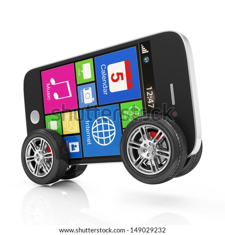 Black Touchscreen Smartphone on Wheels isolated on white background